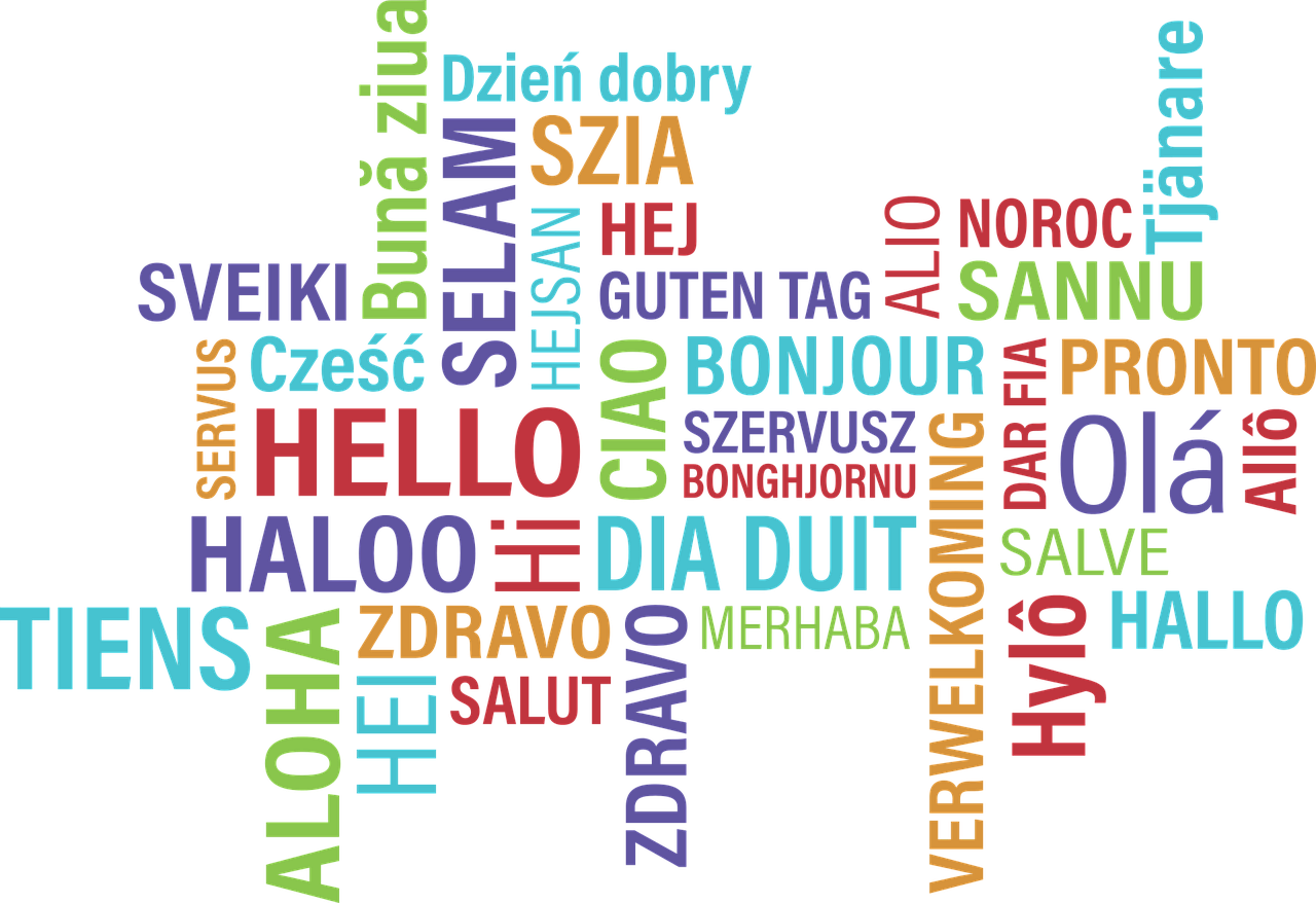 Decorative Image: word cloud of hello in multiple languages.