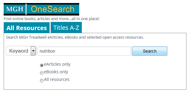 MGH OneSearch box searching for nutrition.