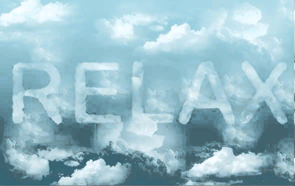 clouds with the word relax