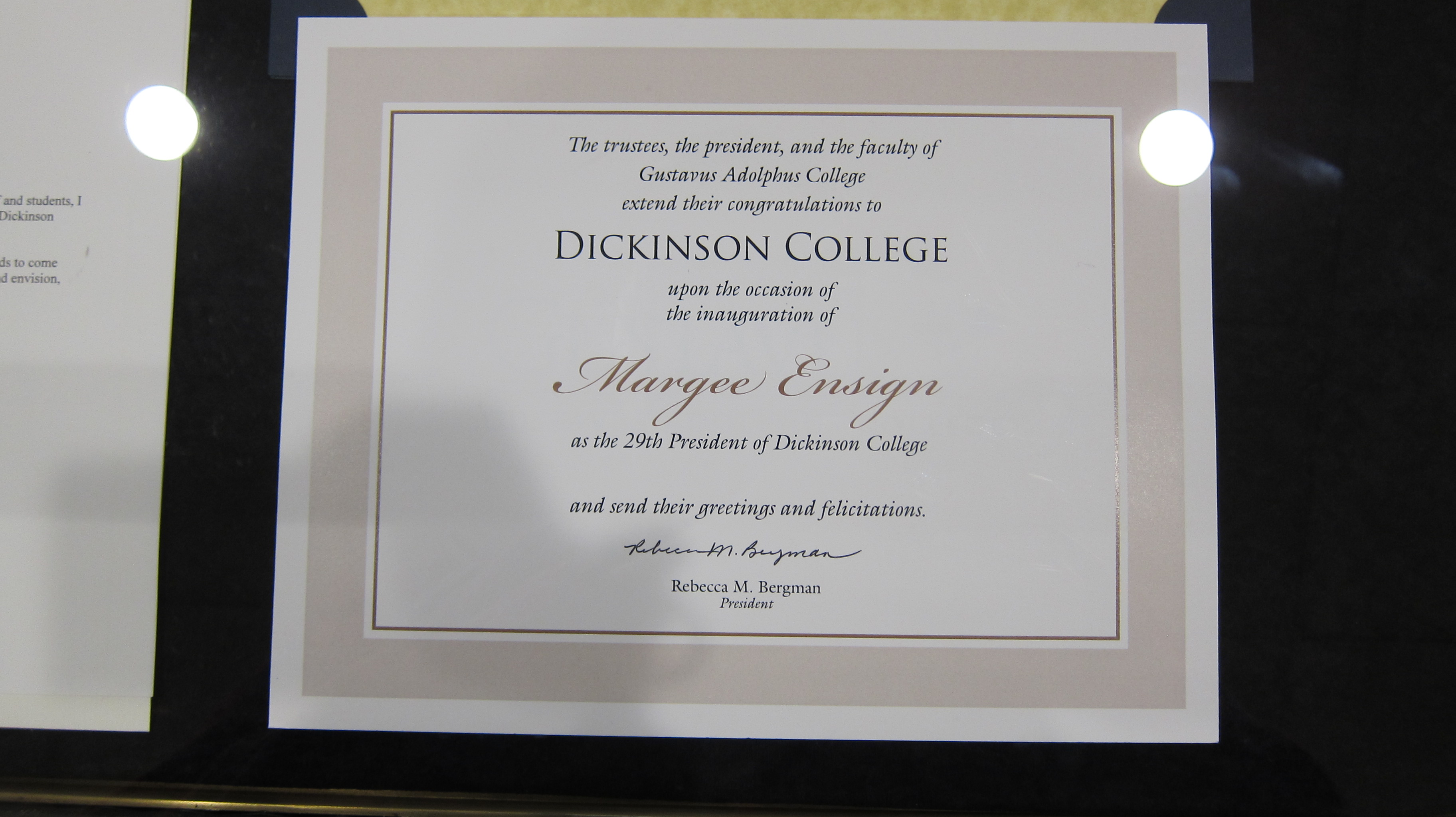 Congulations from Dickinson College to Margee Ensign