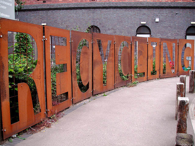 photo of a large copper recycling sign
