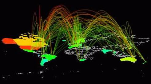 visual of information traffic across the globe