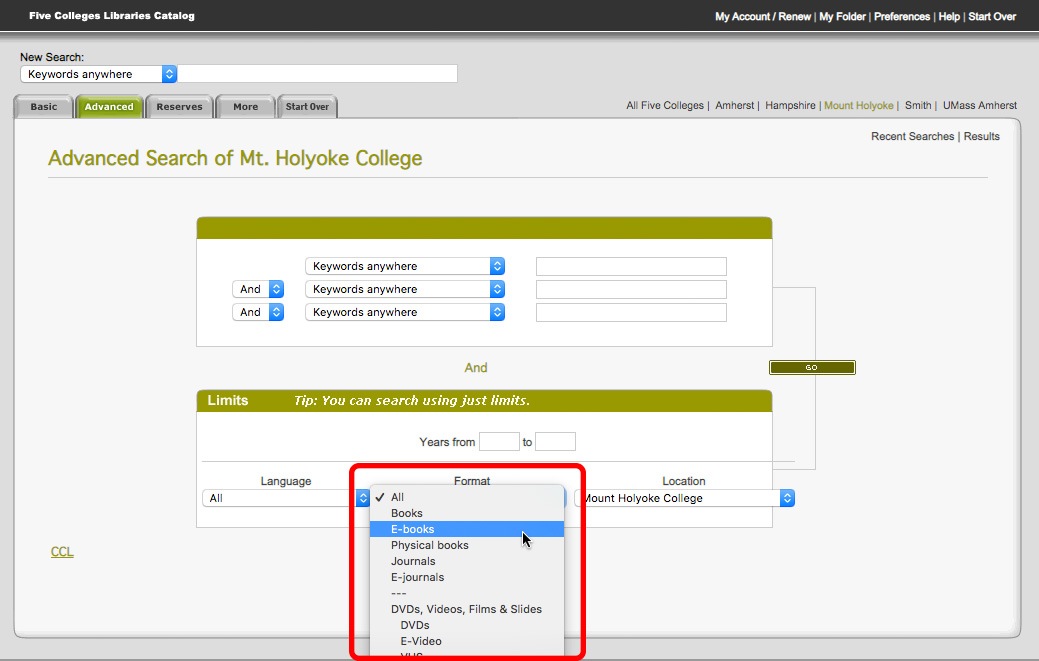 Five College Libraries catalog advanced search screen with Format menu open