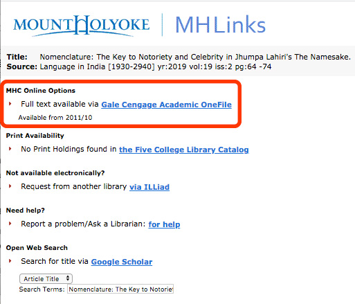 MH Links page with MHC Online Options circled