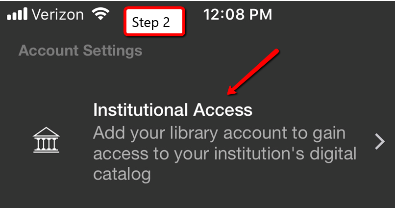"Step 2: Click on ""Institutional Access"""