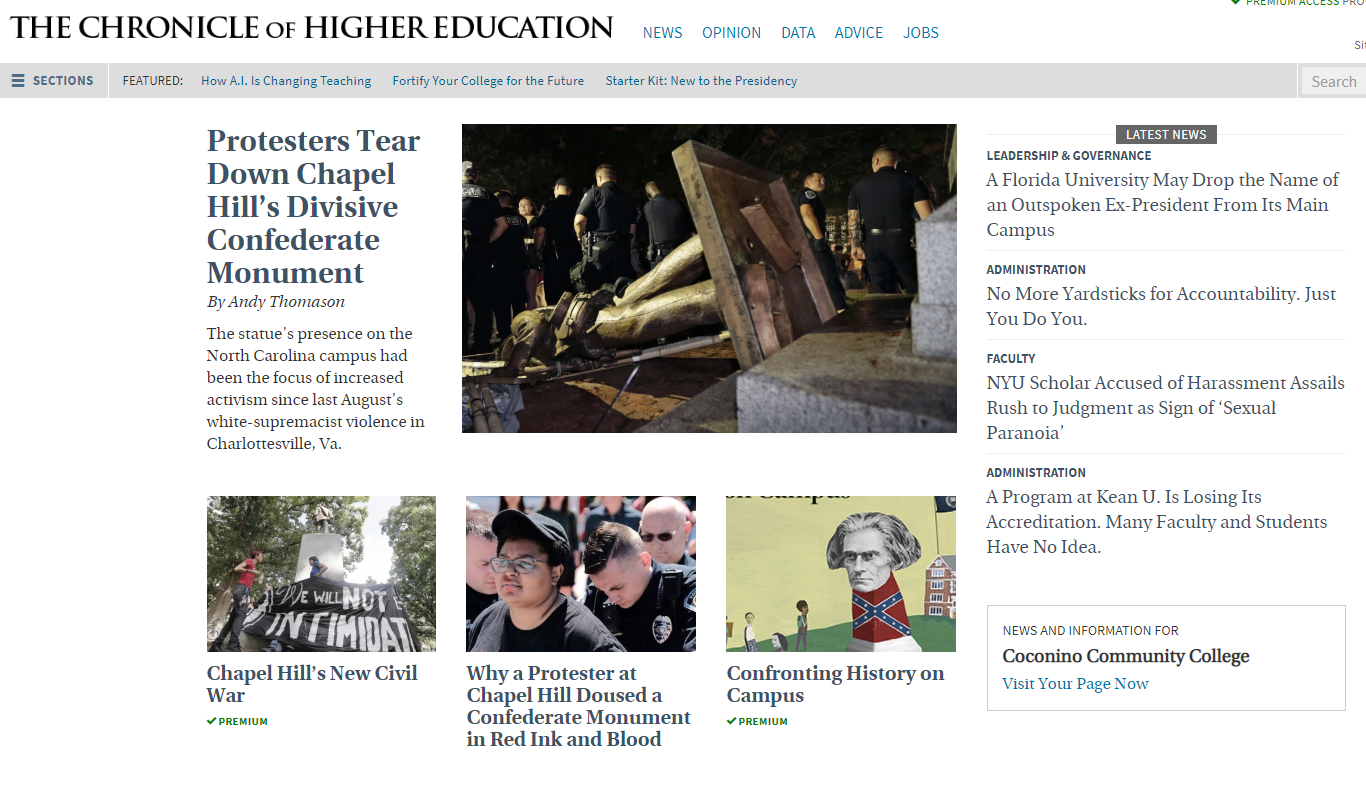 chronicle of higher ed homepage