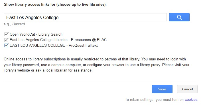 google scholar east los angeles college search