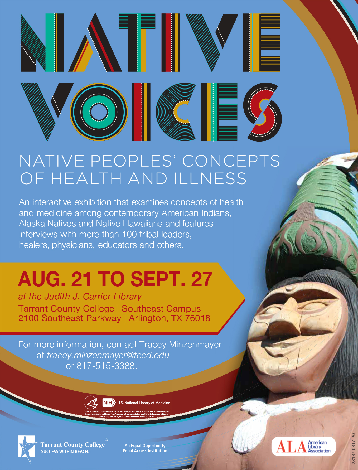 Native Voices flyer. Exhibit will be August 21 to September 27 at TCC SE