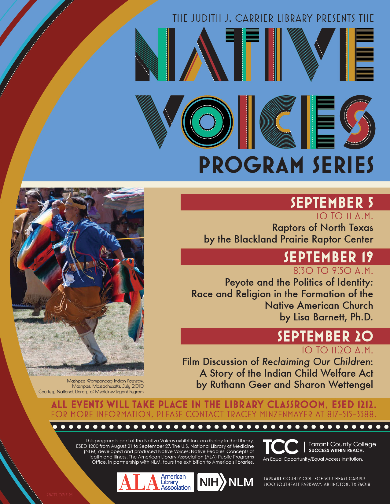 Schedule for Native Voice; Also available in text on other side of page