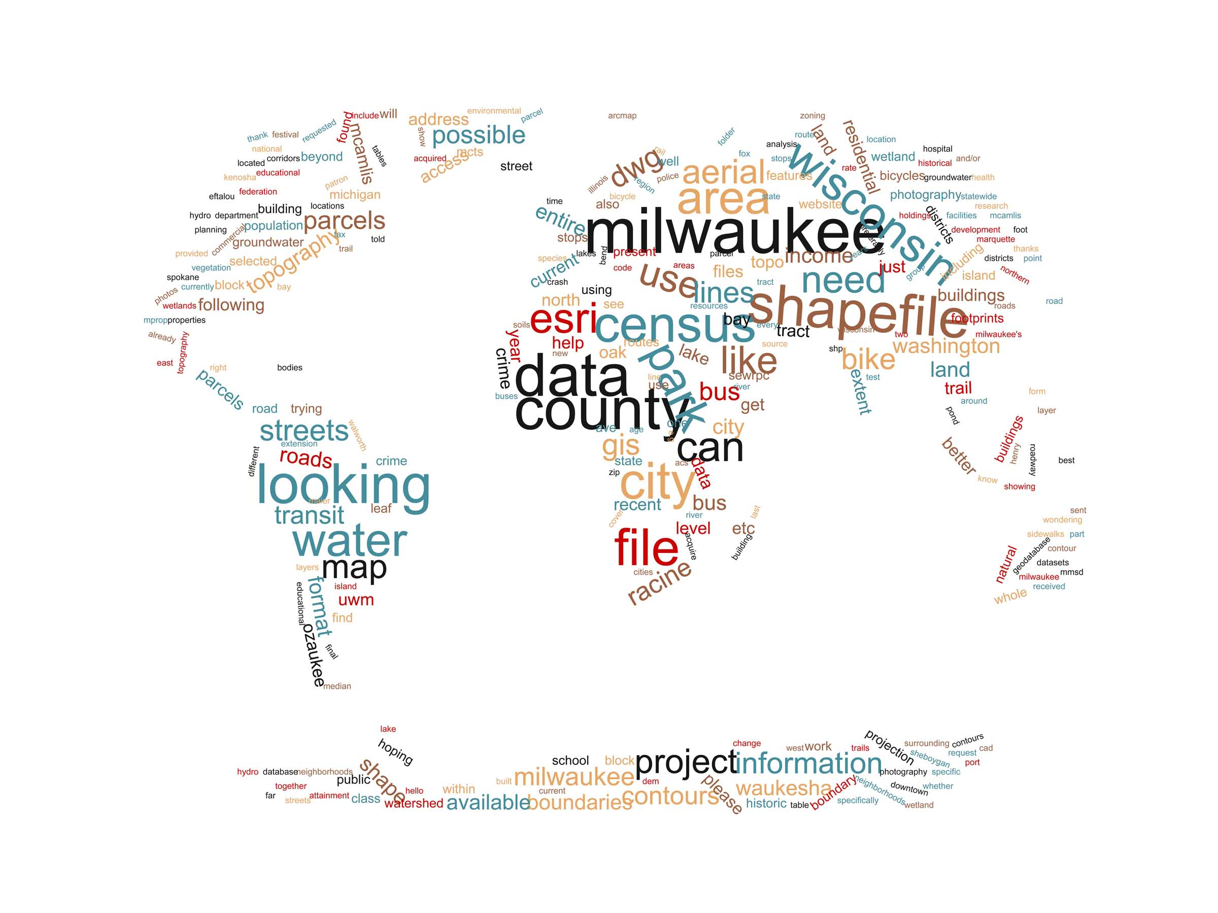 "A word cloud showing some of the most popular data request topics.  Prevelant words are ""Milwaukee"", ""Shapefile"", ""County"", ""ESRI"".  There are smaller areas with common themes of data such as ""bicycles"" and ""buildings""."