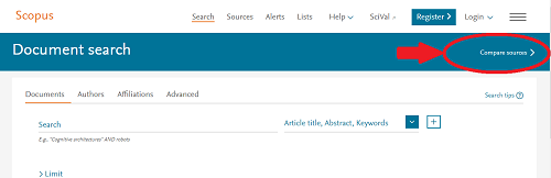 Scopus Homepage for Compare Sources