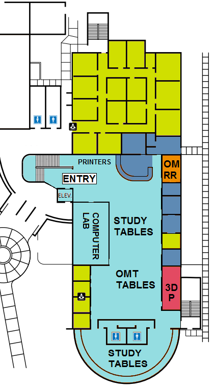 Main floor map of Library