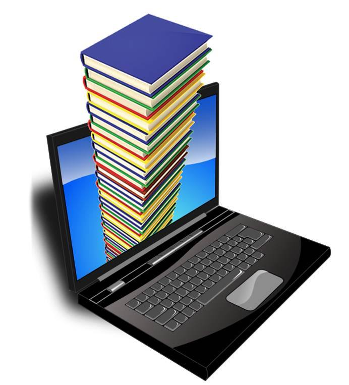 Image of laptop with books coming out of the screen