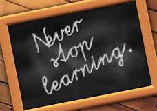 "Chalkboard with the words ""never stop learning"" written on it"