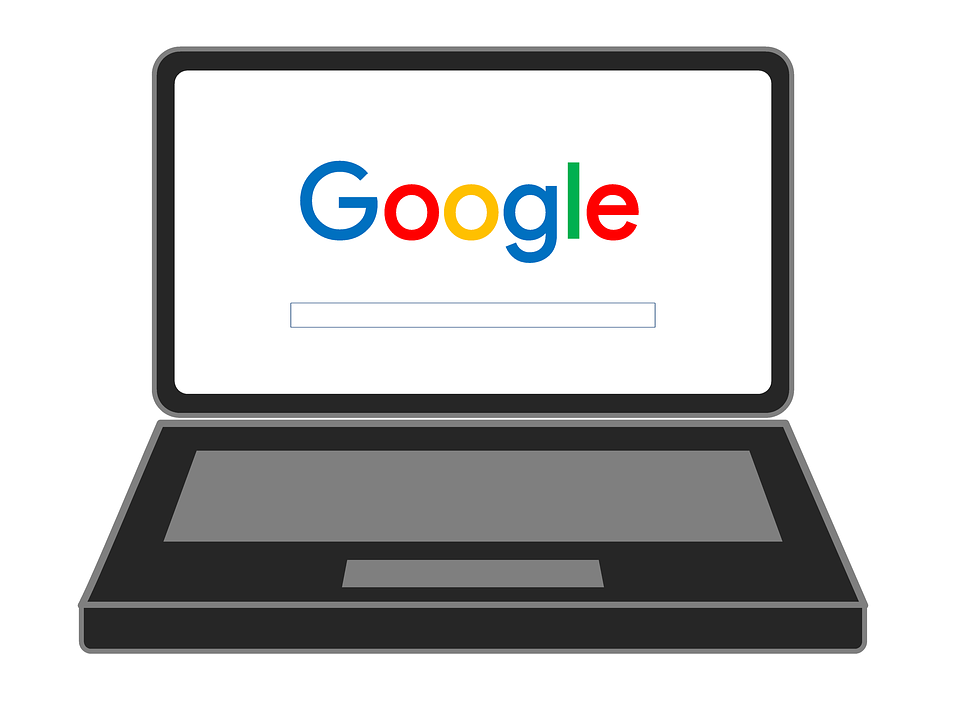 Image of laptop with the Google logo on the monitor