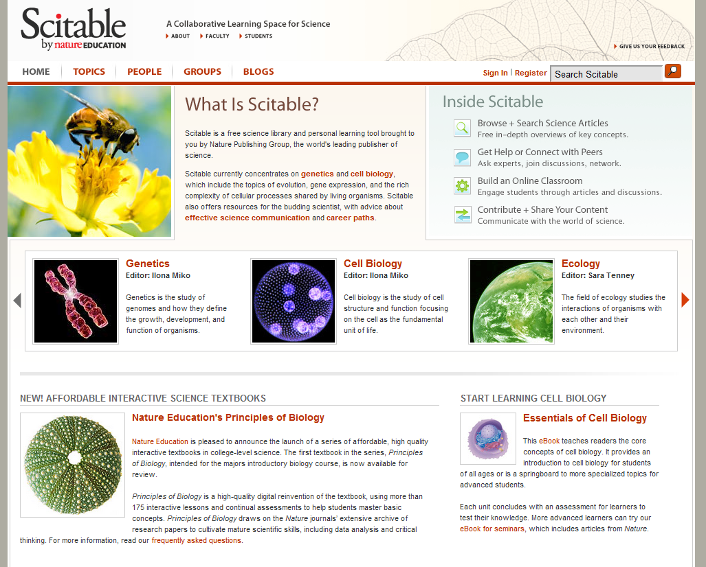 Image of Scitable webpage