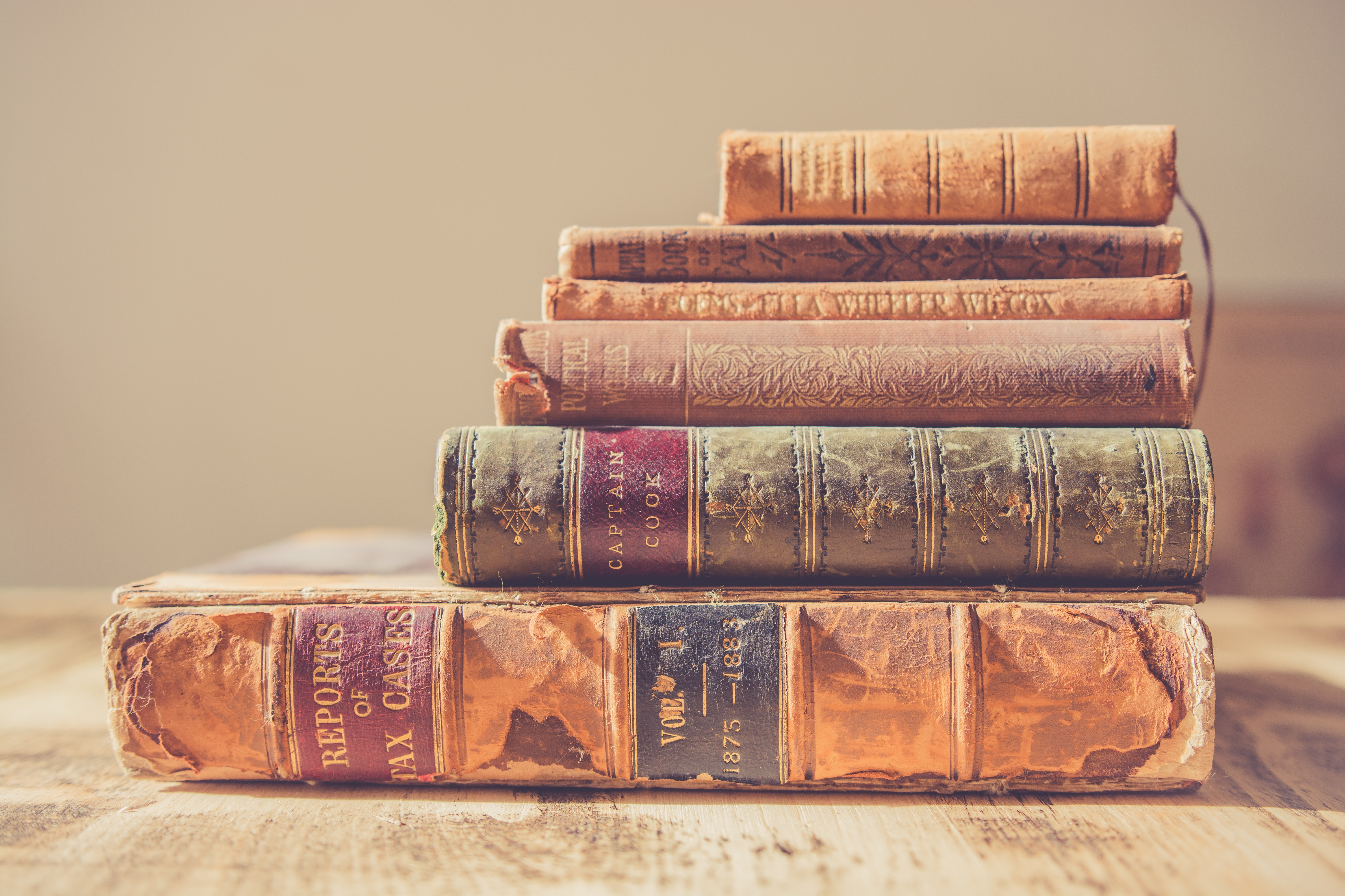 Stack of vintage books