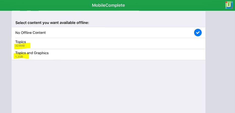 UpToDate MobileComplete options