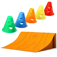robot obstacle course with ramps and cones