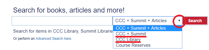 Changing the search scope on CCC Library's catalog