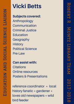 Subjects covered: Anthropology Communication Criminal Justice Education Geography History Political Science; Can assist with: Citations Online resources Posters & Presentations