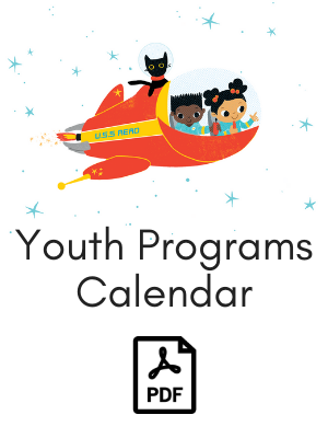 Two children and a cat in spaceship link to youth programs calendar