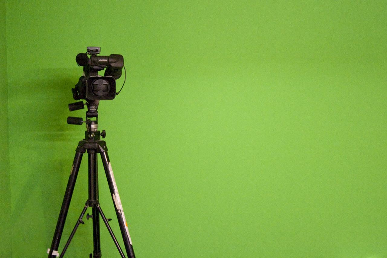 Video camera in front of green screen