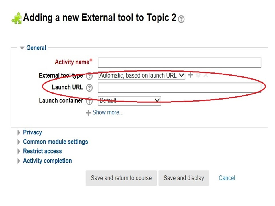 "Image Moodle ""Adding a new external tool to topic 2"