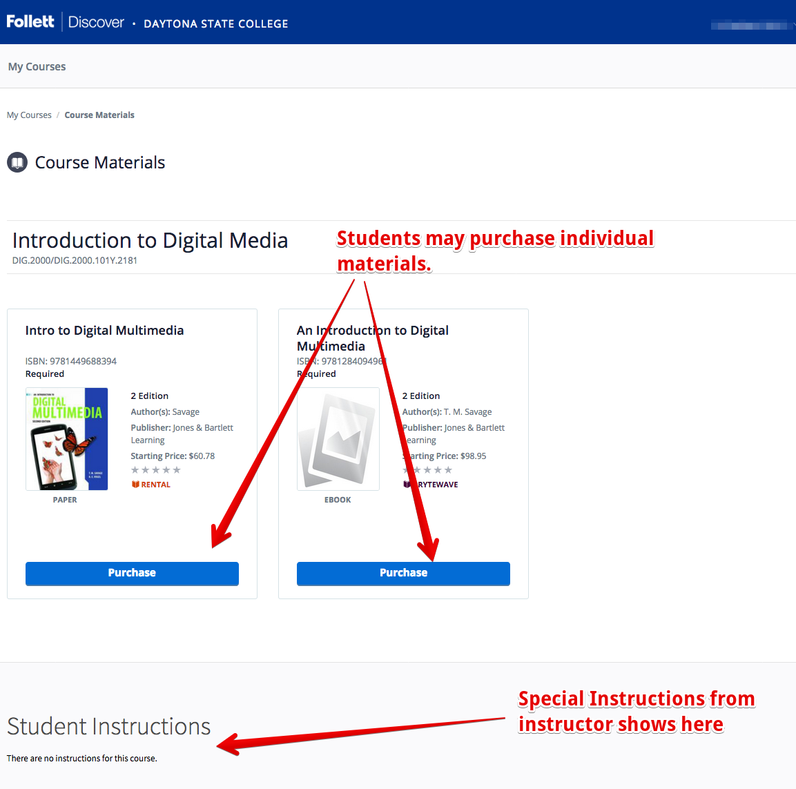 Student view of Follett Discover showing individual course materials and instructor instructions