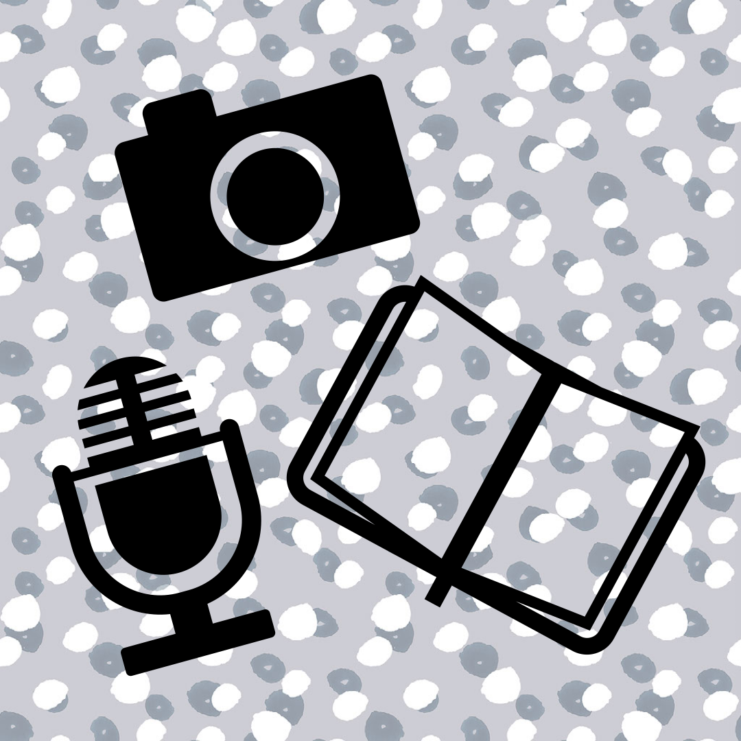 Graphic of camera, microphone, and journal