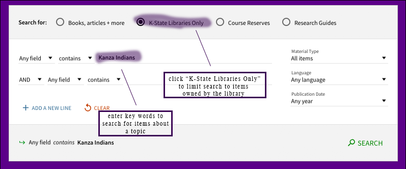 Search It screen displaying keyword search in KState Libraries only