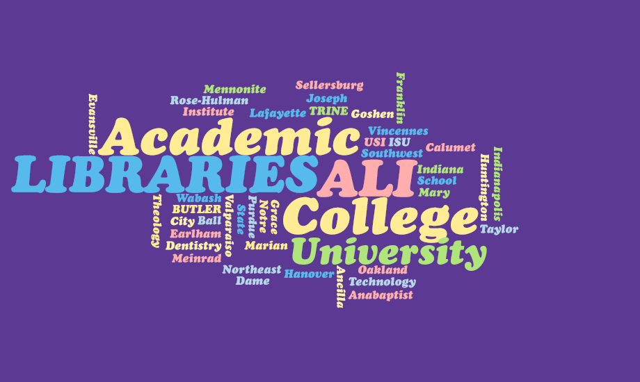 Academic Libraries of Indiana word cloud image