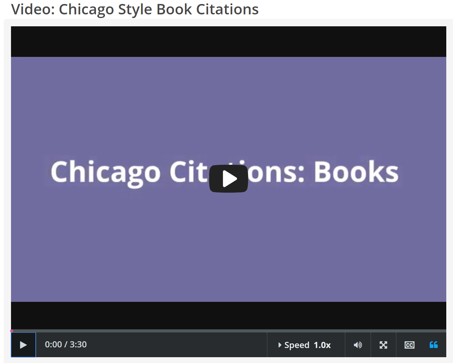 "CREDO InfoLit video, ""Chicago Style Book Citations"" screenshot"
