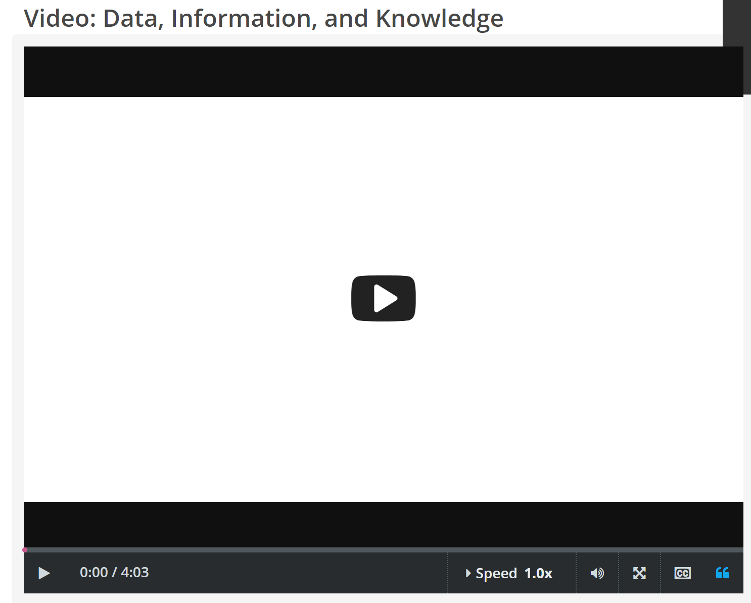 "CREDO InfoLit video, ""Data, Information, and Knowledge"" screenshot"