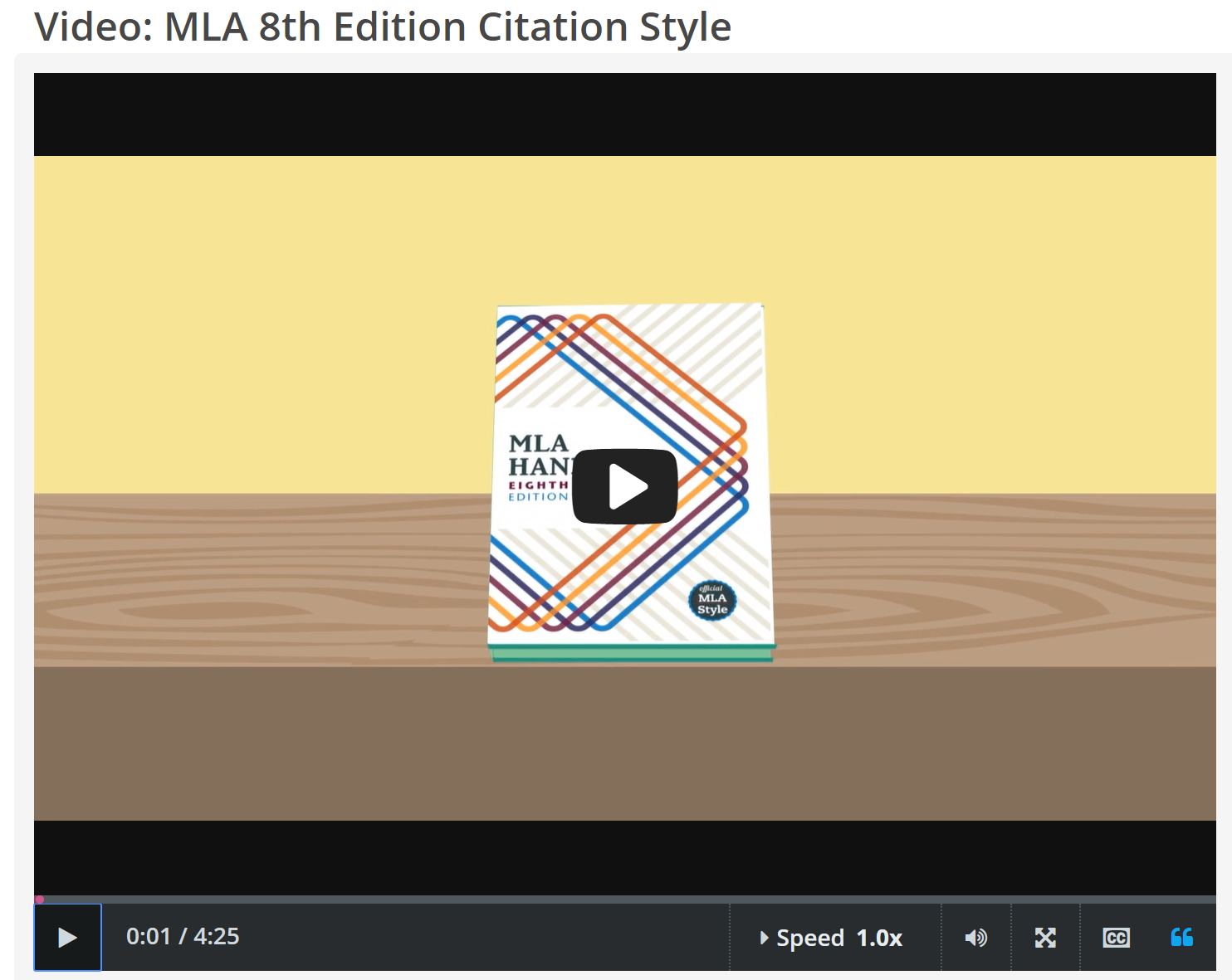 "CREDO InfoLit video, ""MLA 8th Edition Citation Style"" screenshot"