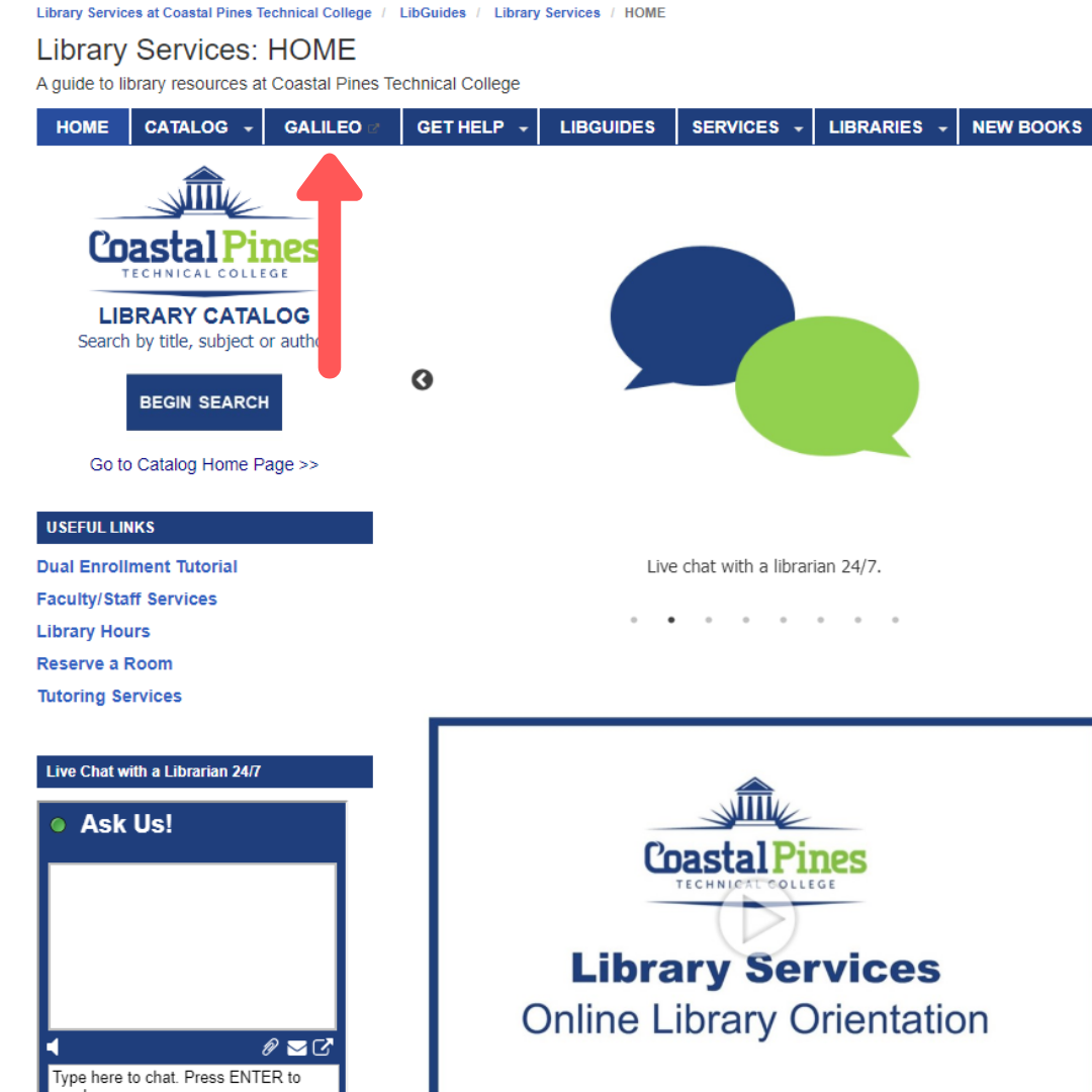 Logging into OpenAthens Step 1: Click on the GALILEO link on the CPTC Library Services page. Screen shot of action