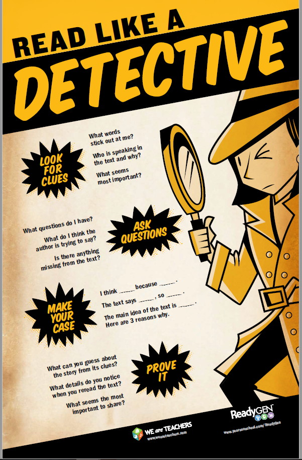 Read Like a Detective Close Reading Poster