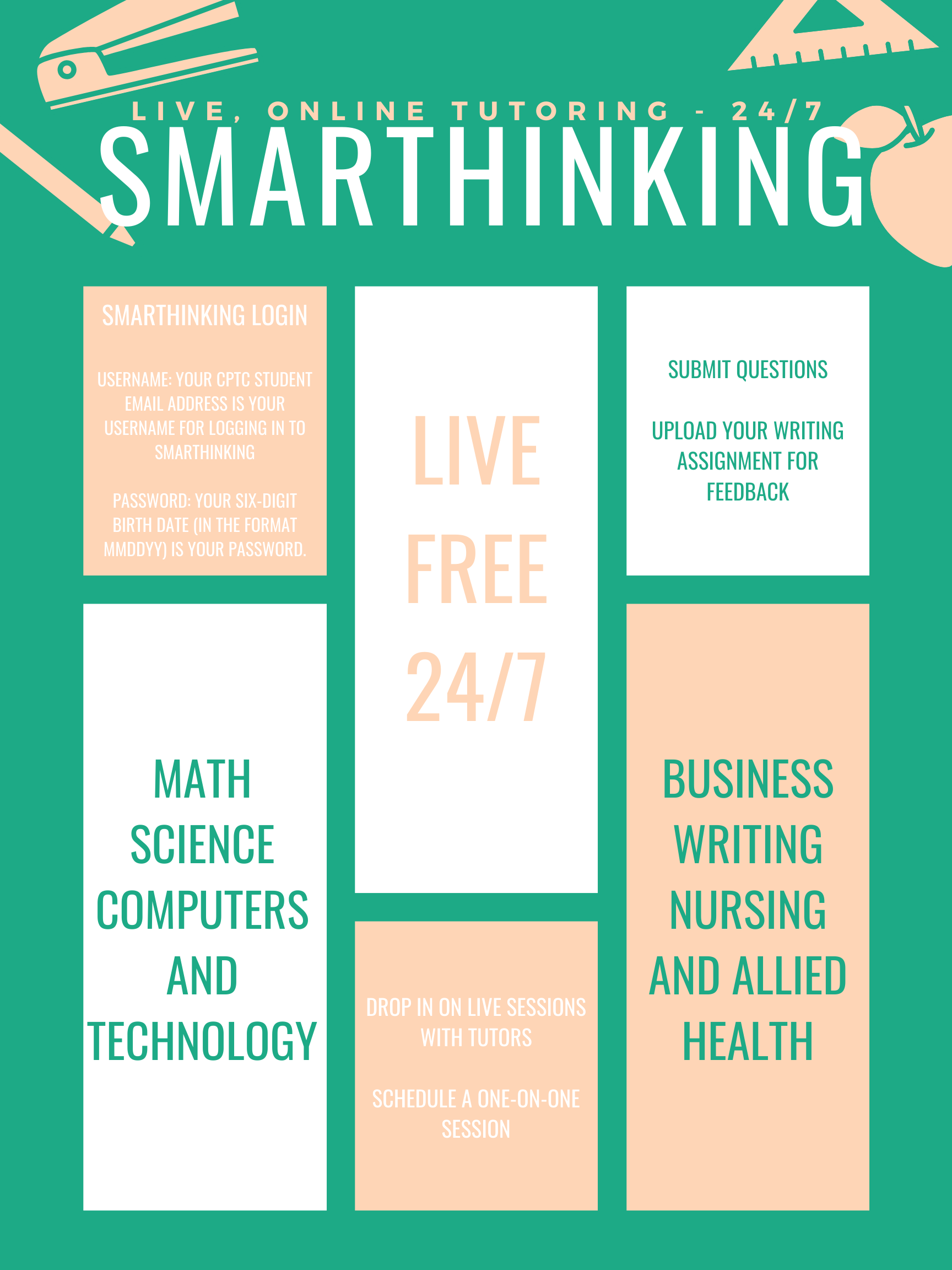Poster describing Smarthinking, live 24/7 online tutoring offered to CPTC students