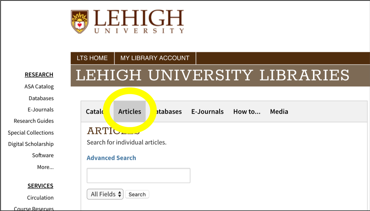 library homepage articles search