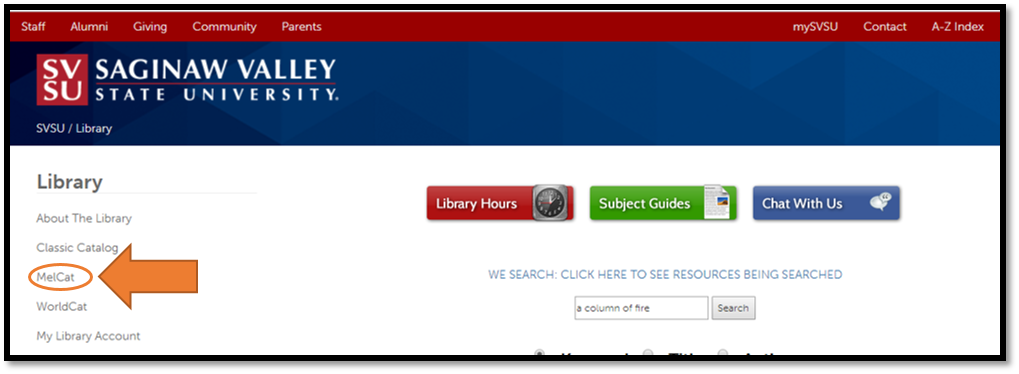 MelCat Link on Library Homepage
