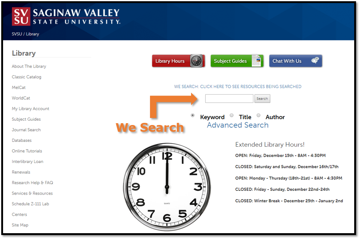 Library Homepage, We Search