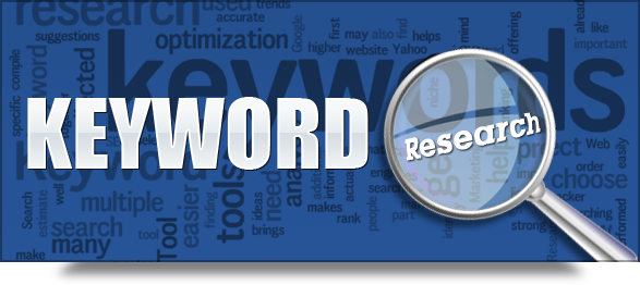keyword with magnifying glass over research