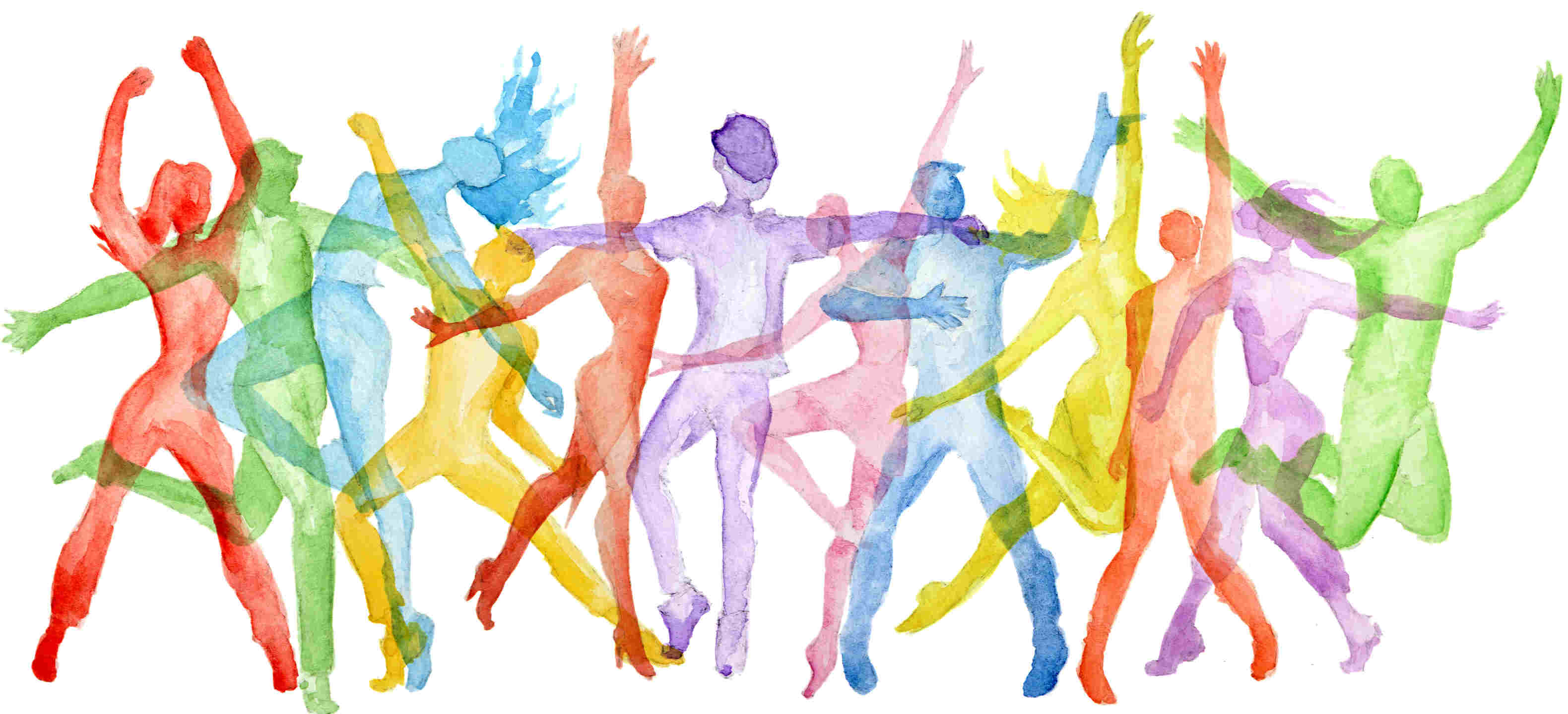 water color painting of silhouettes dancing