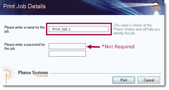 print job details pop up, as described above.