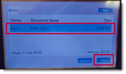 print station screen, highlighting selecting a print job and the blue print button