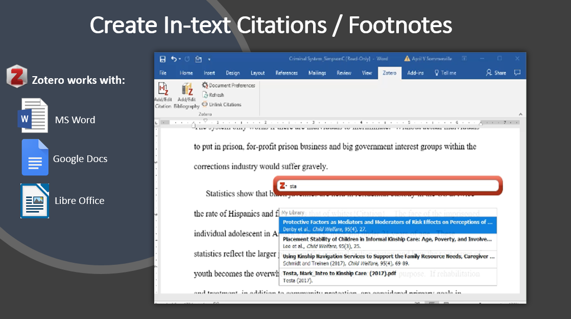 create in-text citations / footnotes
