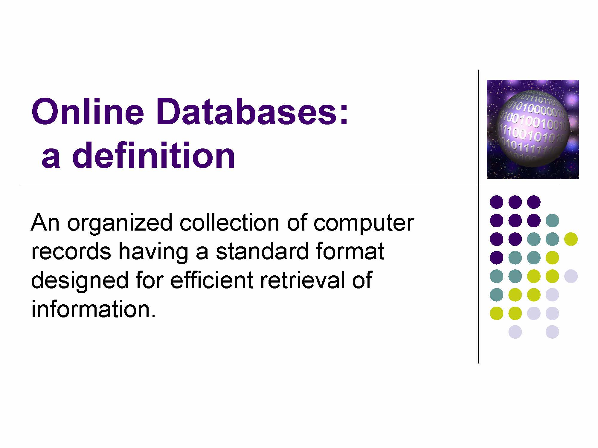 slide online databases defined