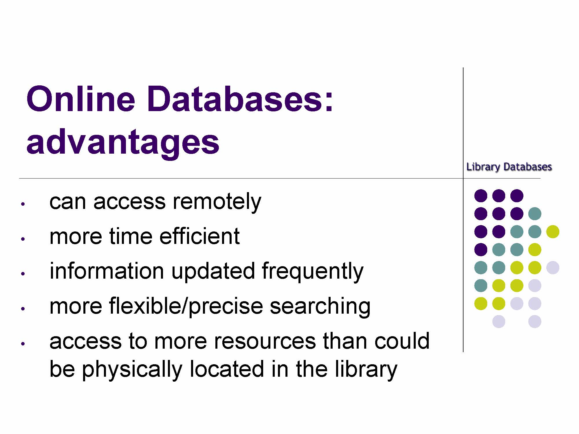 slide online databases advantages