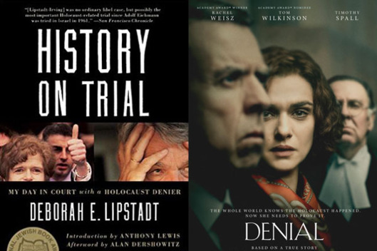 Book cover and movie poster for History on Trial