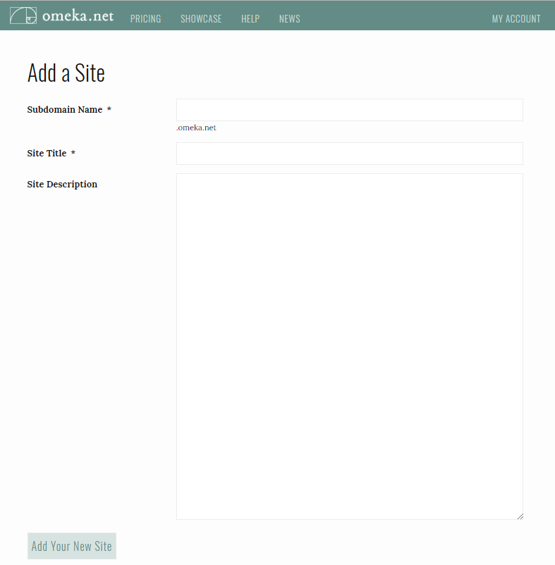 "The ""add a site"" screen asks you for the subdomain name, the site title, and a description."